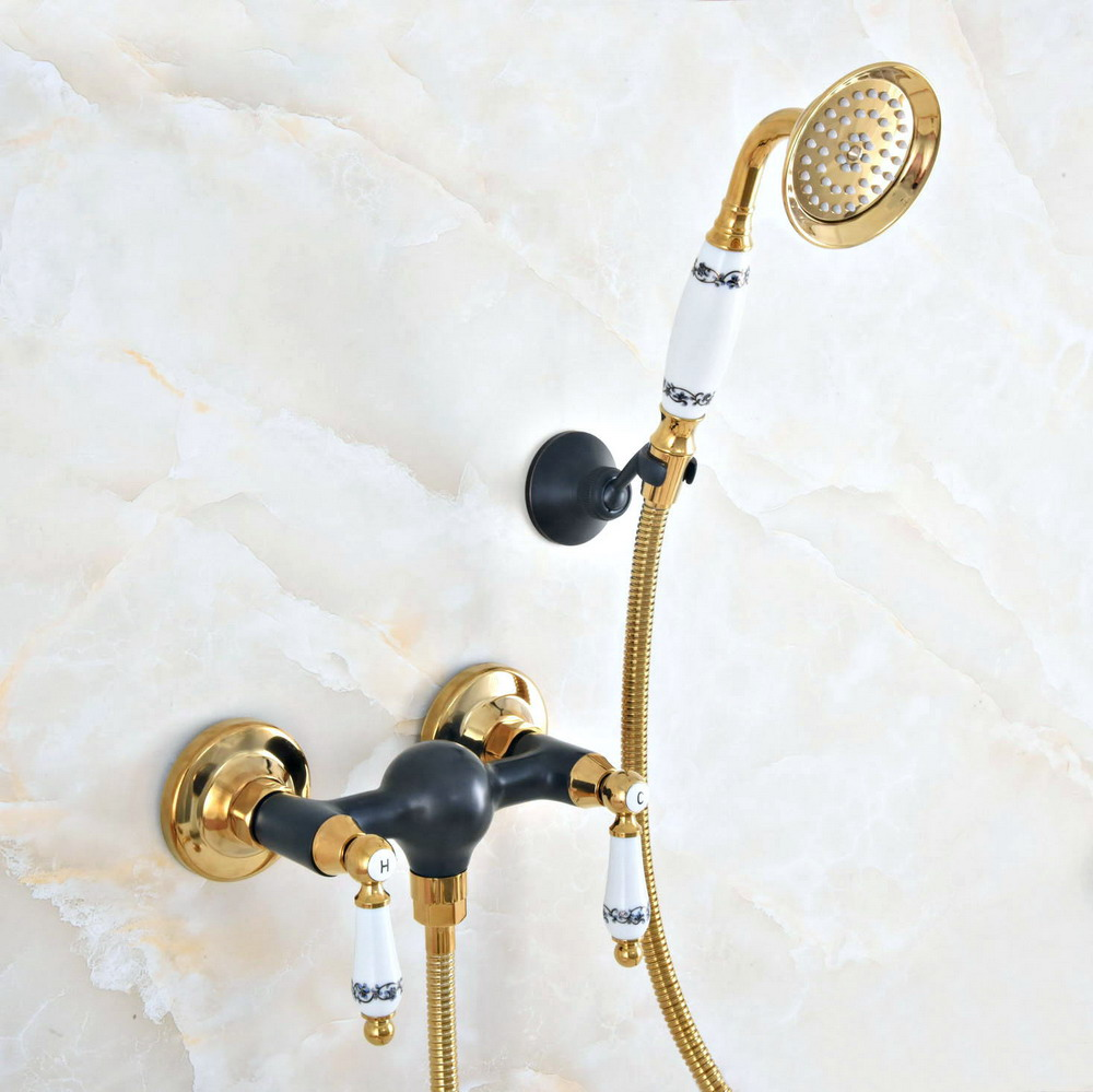 Black & Gold Brass Wall Mounted Clawfoot Bath Tub Faucet w/ Handheld Shower  lna015Black & Gold Brass Wall Mounted Clawfoot Bath Tub Faucet w/ Handheld Shower  lna015