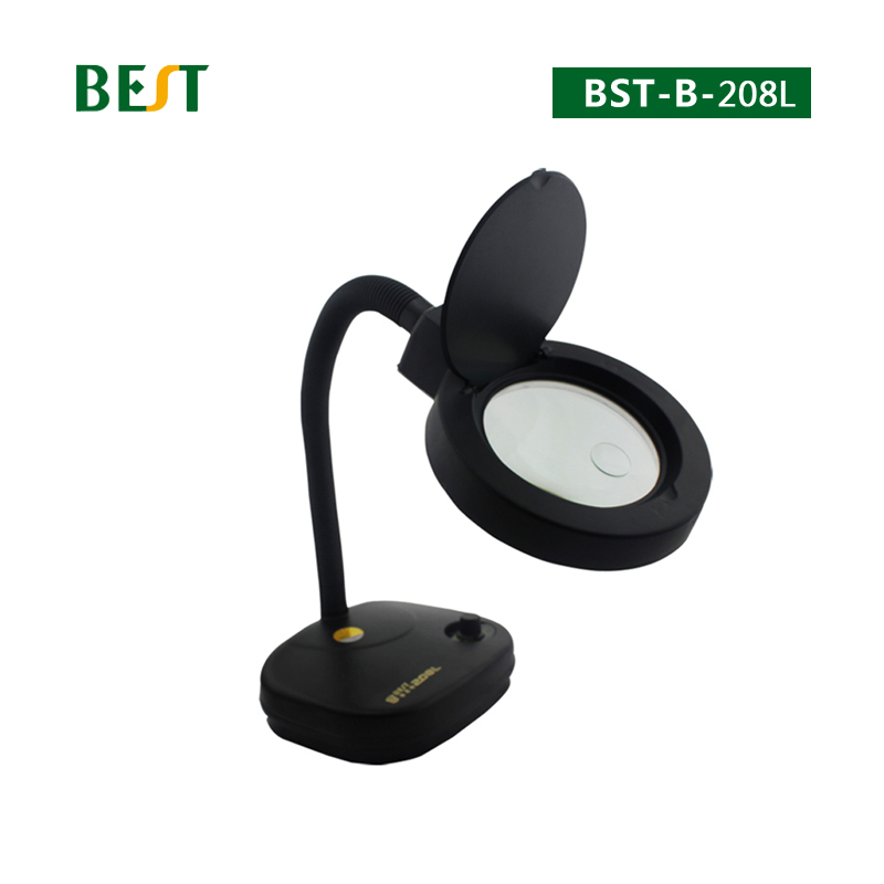 BES-208L Magnifying Glass Adjustable Brightness Desktop LED Electronic Magnifying Lamp Magnifier Tools With Light 5X 10X  цены