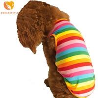 Doggyzstyle Радуга Pet Puppy Одежда высокого Качественный хлопок Лето собаки жилет Симпатичные Красочные Собака футболки для Чихуахуа Тедди Новый
