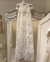 Великолепная 120 см Длинные Кружева из бисера Фамильные белый/цвета слоновой кости для малышей Крещение платья Крещение платье благословени