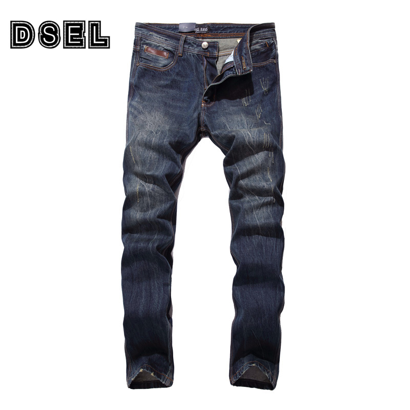 High Quality Dark Color Denim Fashion Men Jeans Vintage Color DSEL Brand Ripped Jeans Men Scratched Casual Leisure Pants