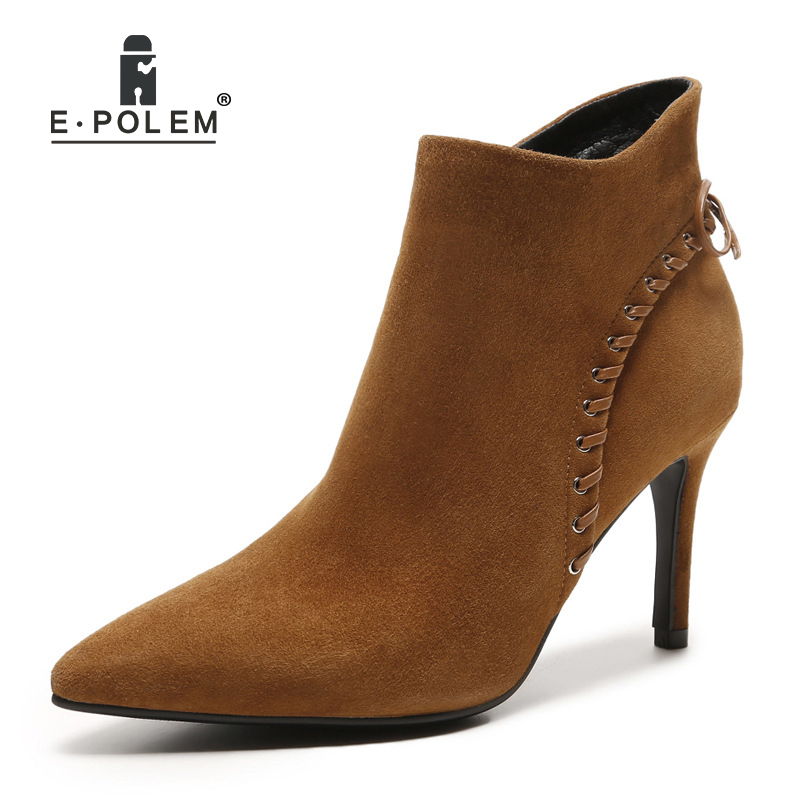 Female Punk T-tied Boots for Women Genuine Leather Thin Heel Chelsea Boots Punk Style Fashion Lady Winter Boots
