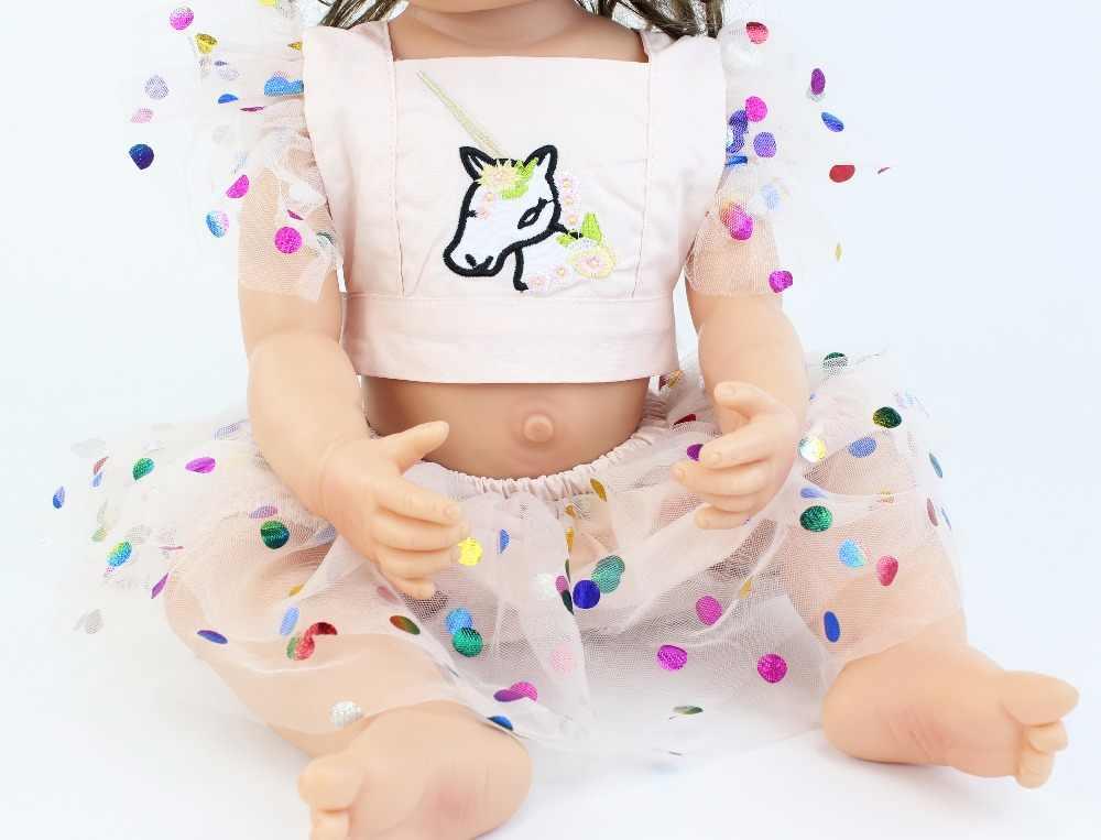 55 см полное Силиконовое боди Reborn Baby Doll Toy Lifelike Единорог одежда виниловая новорожденная принцесса младенец девочка Boneca Bathe To