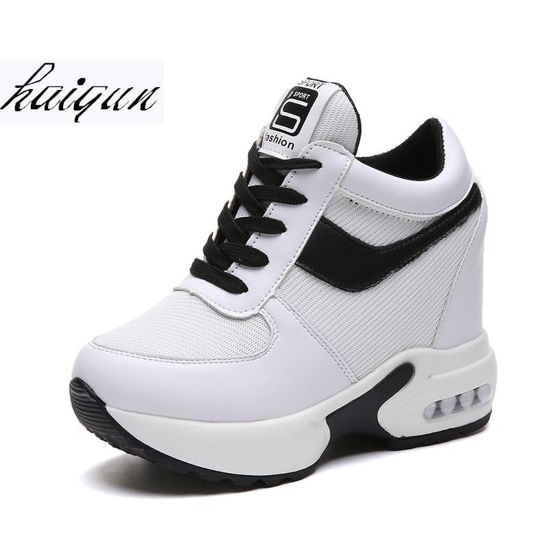 Mujer Otoño Transpirable Malla De Zapatos Blancos blanco 10 Negro Plataforma  Altura Cuñas Cm Casual Zapatillas 2018 Tacones ... 5378cc3eca56