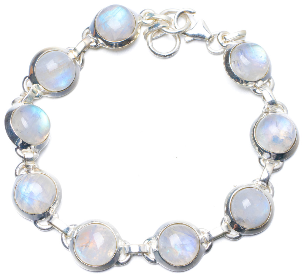 "Natural Rainbow Moonstone Handmade Unique 925 Sterling Silver Bracelet 7 1/2-7 3/4"" Y0852"