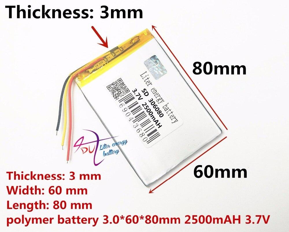 Frete grátis 306080 2500 mah amor linha 3 pouso PDA computador tablet inteligente 3.7 v bateria de polímero