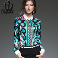 New Work Wear Office 2016 Women Tops Pattern Geometric Print Blouse Women Clothing Autumn Long sleeve Chiffon shirt