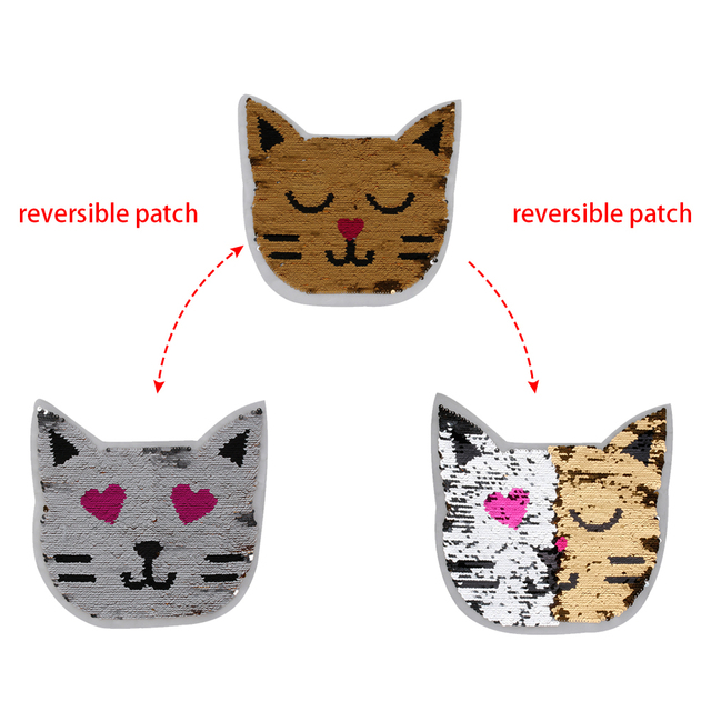 3921679fb03 1PC Cute Cat Reversible Color Changing Sequins Sewing on Patch Clothes DIY  Applique Clothing Jeans Craft