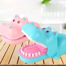Mouth Bite Hand Electric Hippo Biting Finger Push Teeth Game Creative Blue Pink Tricky Toys Kids Gifts Family Games Plastic shark bite game funny toys desktop fishing toys kids family interactive toys board game