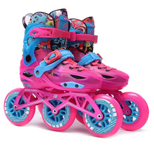 цена Kid's Adjustable Inline Skates Size 28-39 3*90mm or 3*100mm Wheels Child Skating Shoes Speed Patines Free Skating Racing Skates