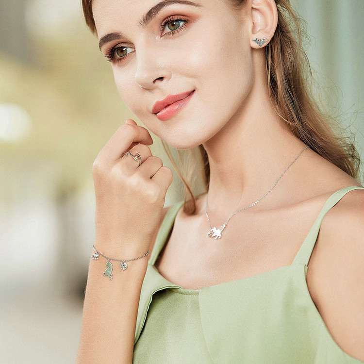 HTB1gE3vGeuSBuNjSsziq6zq8pXaV BAMOER Fashion Genuine 925 Sterling Silver Cute Pet Pussy Cat Chain Pendant Necklace for Women Sterling Silver Jewelry SCN232