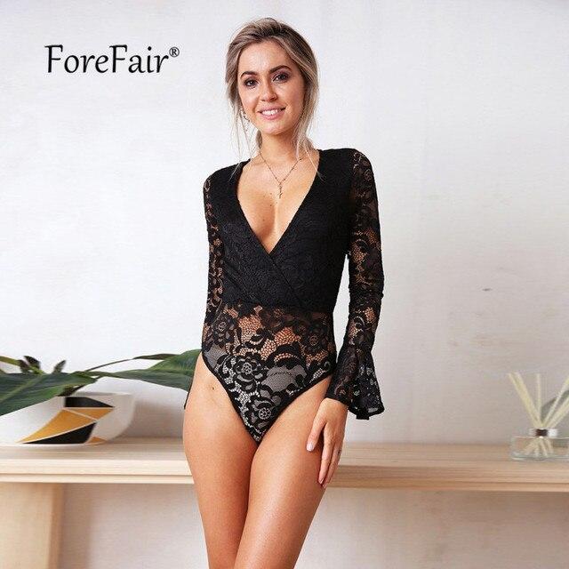 82dcef18fad2 Mono de encaje negro blanco con escote en V profundo manga larga ajustado  Sexy bodysuit otoño 2018 cuerpo elegante mujer Top Bodysuits