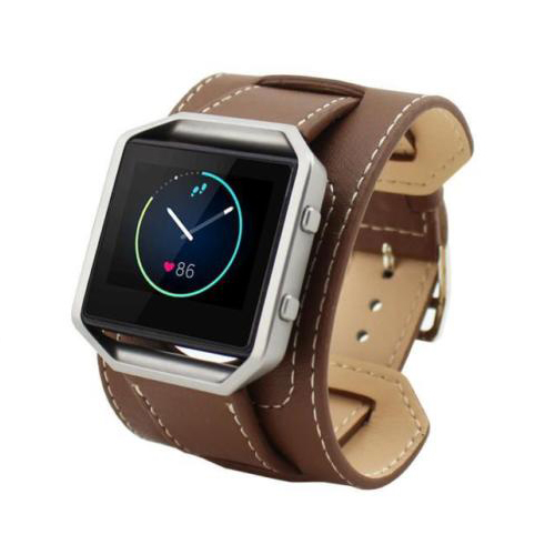 Leather Double Tour Cuff Watch Band Strap For Fitbit Blaze LED Watch Tracker, Bracelet type Brown survival nylon bracelet brown