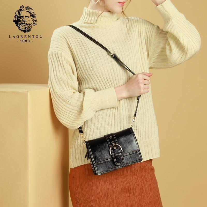 Ehrlich Laorentou Marke Weibliche Split Leder Vintage Schulter Taschen Frauen Solide Classy Messenger Taschen Mädchen Der Straße Zeigen Klappe Tasche Damentaschen