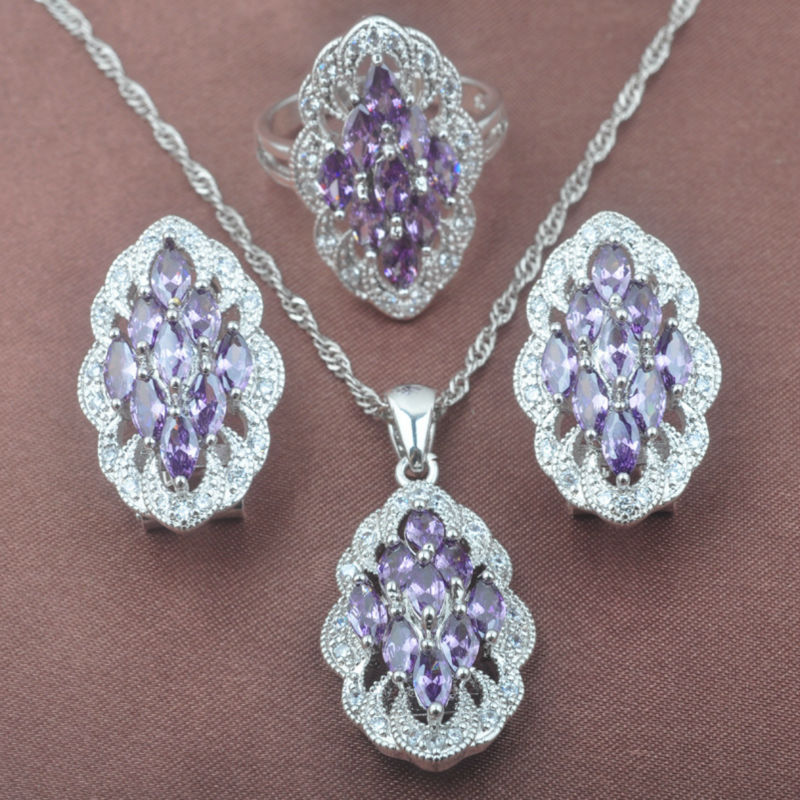 Ungewöhnliche Lila Kristall Weiß Cz Frauen 925 Sterling Silber Schmuck Sets Halskette Anhänger Ohrringe Ring Tz0506 Schmuck & Zubehör