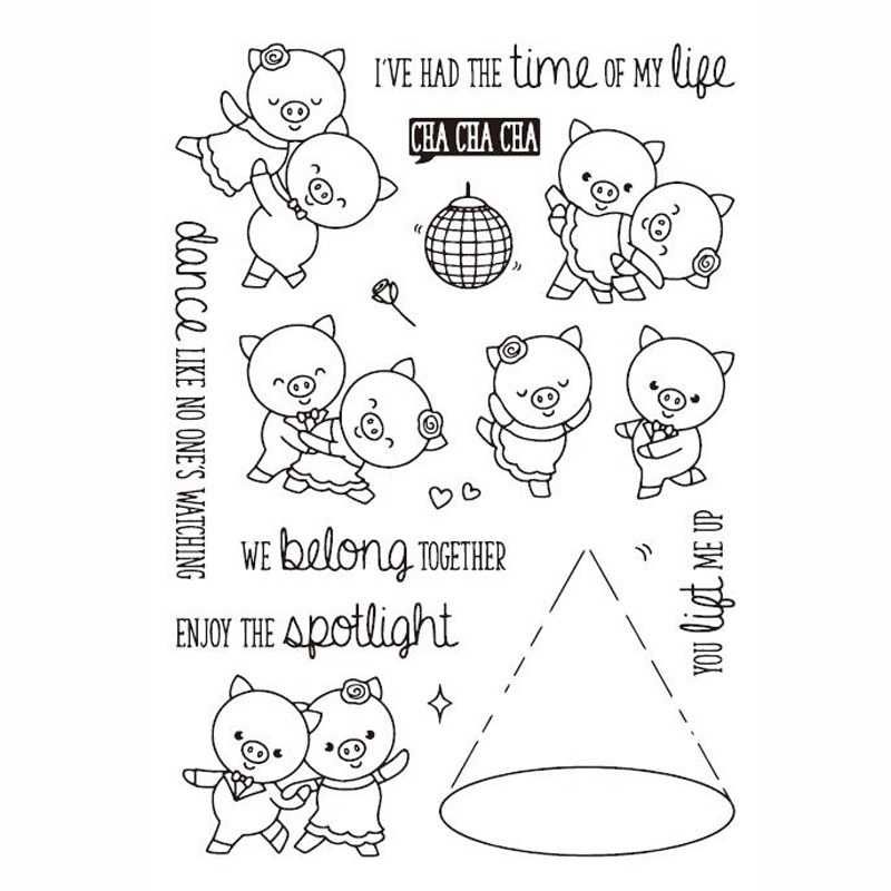 KLJUYP Cute Pigs Transparent Clear Silicone Stamp/Seal for DIY scrapbooking/photo album Decorative clear stamp sheets lovely animals and ballon design transparent clear silicone stamp for diy scrapbooking photo album clear stamp cl 278