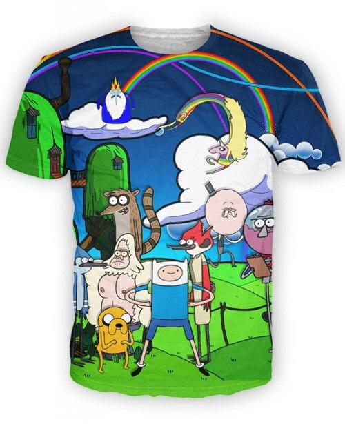 New fashion men women s summer tops tees 3D print cartoon Adventure Time funny short sleeve