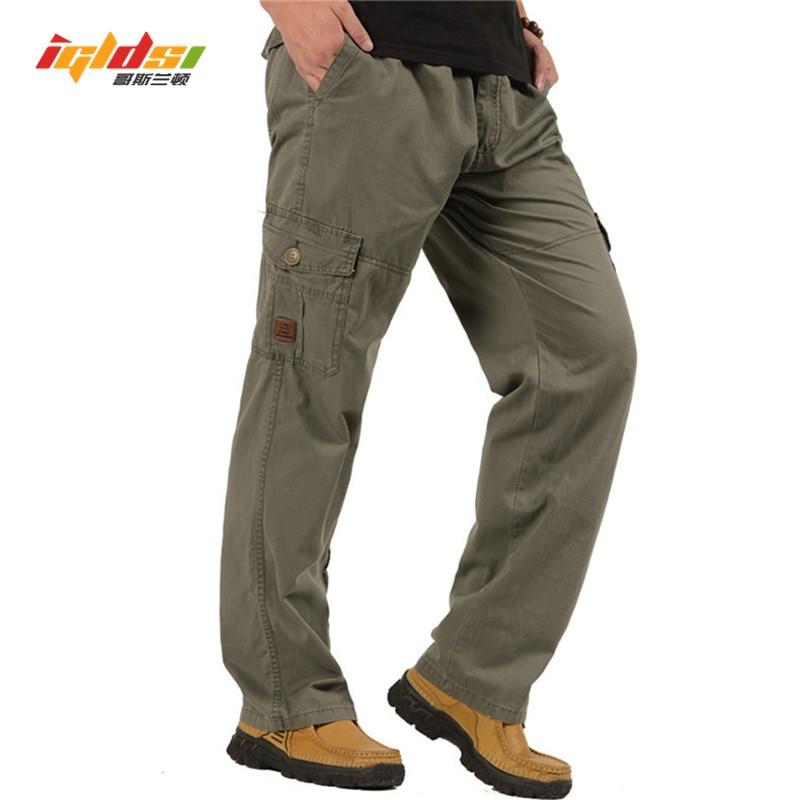 6782a8657 Pantalones de carga tácticos para Hombre Nuevo 2018 primavera otoño  overoles holgados de algodón holgado pantalones militares del Ejército 4XL  5XL ...