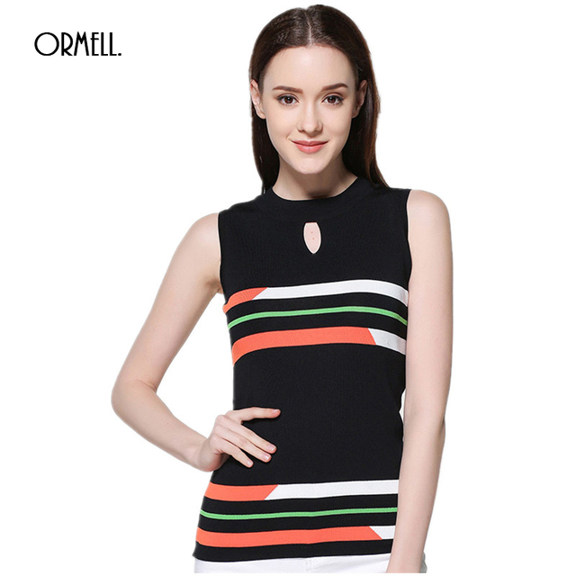 90d26e2c2b9644 ORMELL 2017 Fashion Ladies New Striped Knitwear Vest Autumn Sleeveless  Round Neck Knitted Thin Women Sweaters And Pullovers