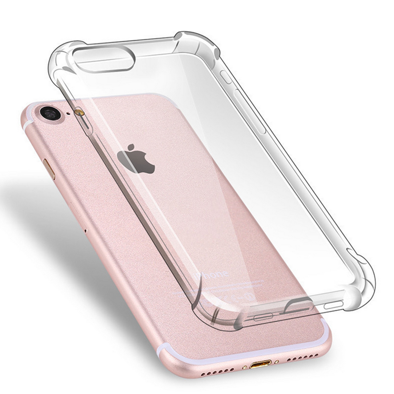 Anti Knock Air Cushion Clear Transparent Thick Soft TPU Case For iPhone 7 6s 6 8 Plus 5 5s SE 4 4S X Phone Case