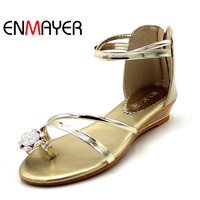 ENMAYERNew Causal Fashion Style Sweet 2 Colors Gold Silver Rhinestone Zipe Sandals Fashion Women S Sandals
