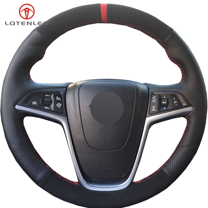 LQTENLEO Black Suede Leather Car Steering Wheel Cover For Buick Excelle XT GT 2010 2014 Opel