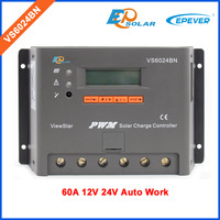 60A controller EPEVER Solar panels system Battery charger regulator LCD display Free Shipping 12V/24V VS6024BN PWM series