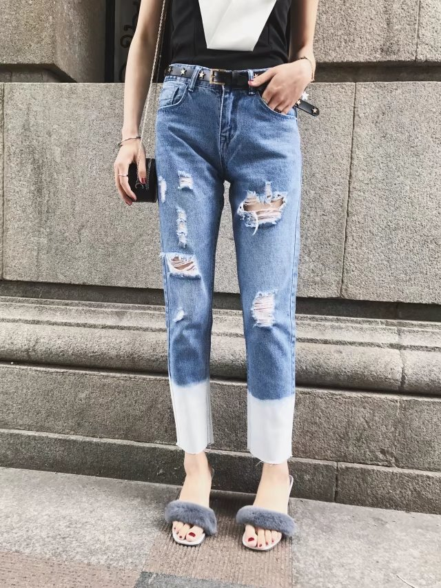 2017 Spring Summer Women Jeans Ripped Holes Cuff Gradient Color natural Stretch Full-length Denim Pencil Pants Casual Trousers