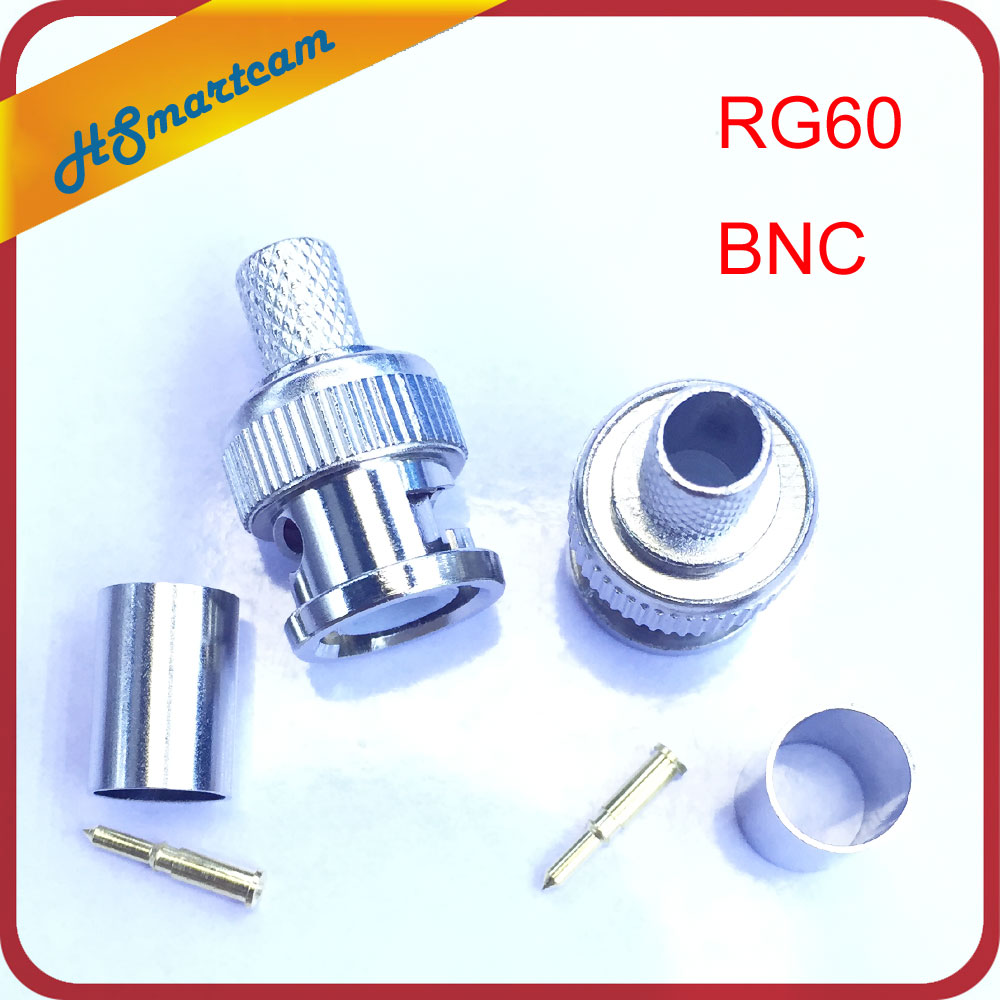 New 2PCS GR60 BNC COMPRESSION CONNECTOR For RG60 CABLE COAX CCTV FITTING COAXIAL MALE For CATV / Home Theater / Boadband Cabling