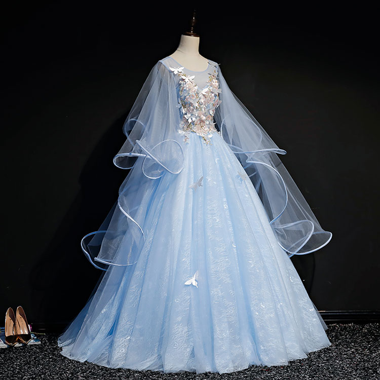 Medieval Renaissance Light Blue And White Gown Dress: Light Blue Butterfly 3d Embroidery Ball Gown Cartoon