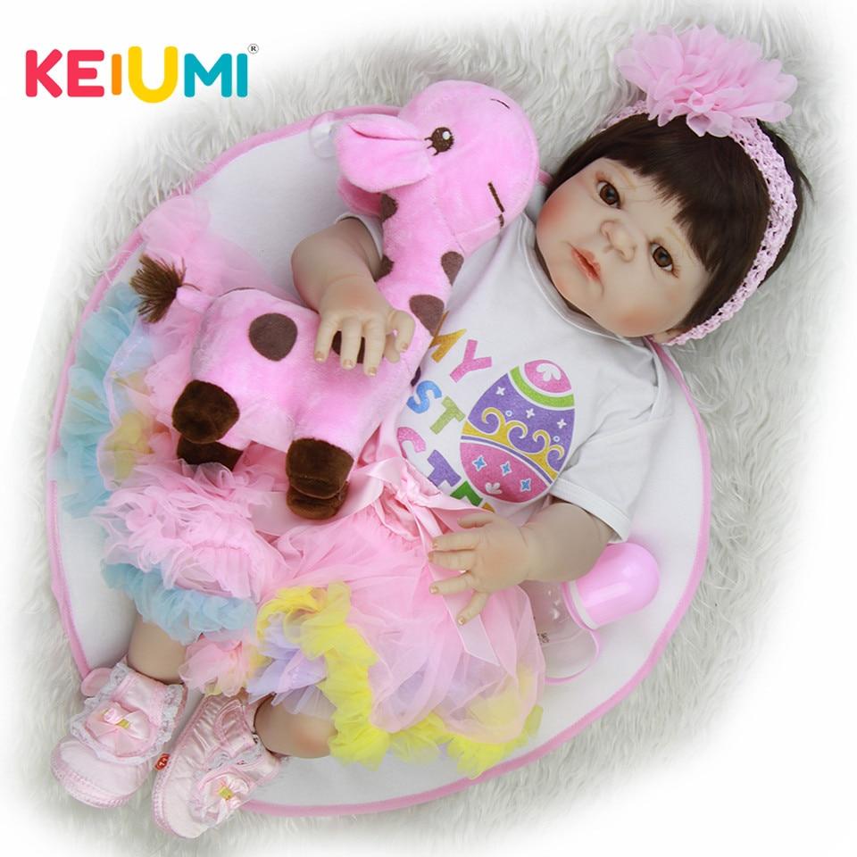 Новый дизайн 23 ''Reborn Baby игрушки куклы реалистичные полный винил для маленьких девочек одежда Платье с радугой прекрасные реалистичные куклы...