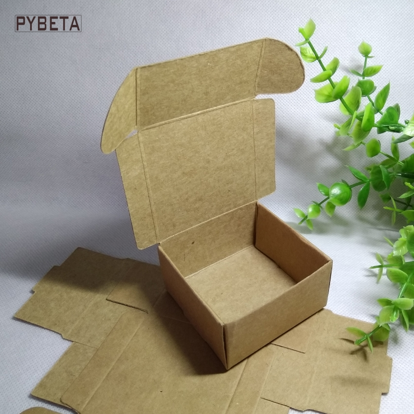 4*4*2cm,5*5*2cm Small size kraft paper boxes for jewelry beads DIY handmade soap candy party gift package 100pcs