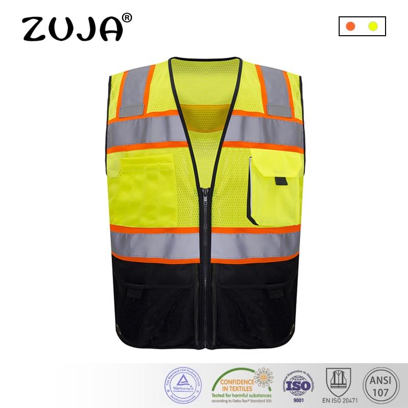 Safety Vest Traffic Fluorescent Hi-vis Pvc Tape/ Mesh Vest Security & Protection
