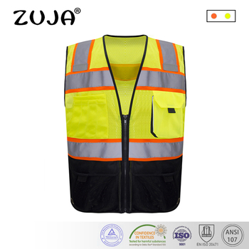 ZUJA Reflective Vest Safety Vest Reflective Fabric Traffic Fluorescent Colorful Hi-vis Mesh Workwear spardwear reflective safety clothing safety orange vest reflective vest work vest traffic vest free logo printing