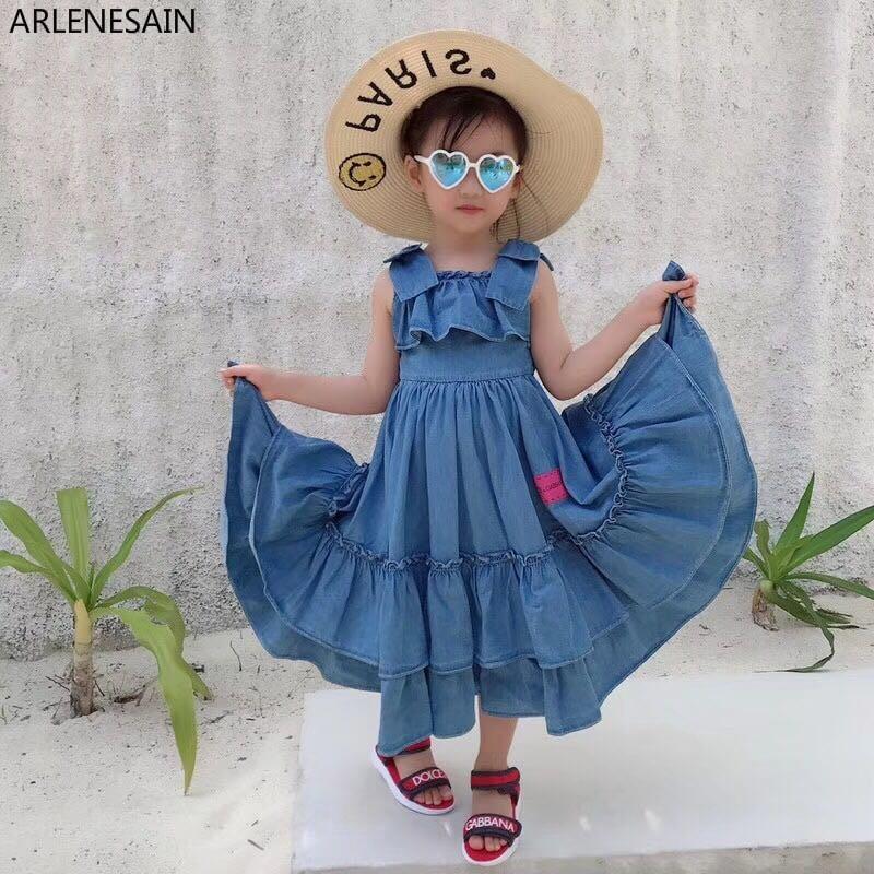 154986619d28f Arlenesain Bandage Princesse En Filles D été Pour Bleu Long Âge Robe Parti Robes  Fille Enfant ...