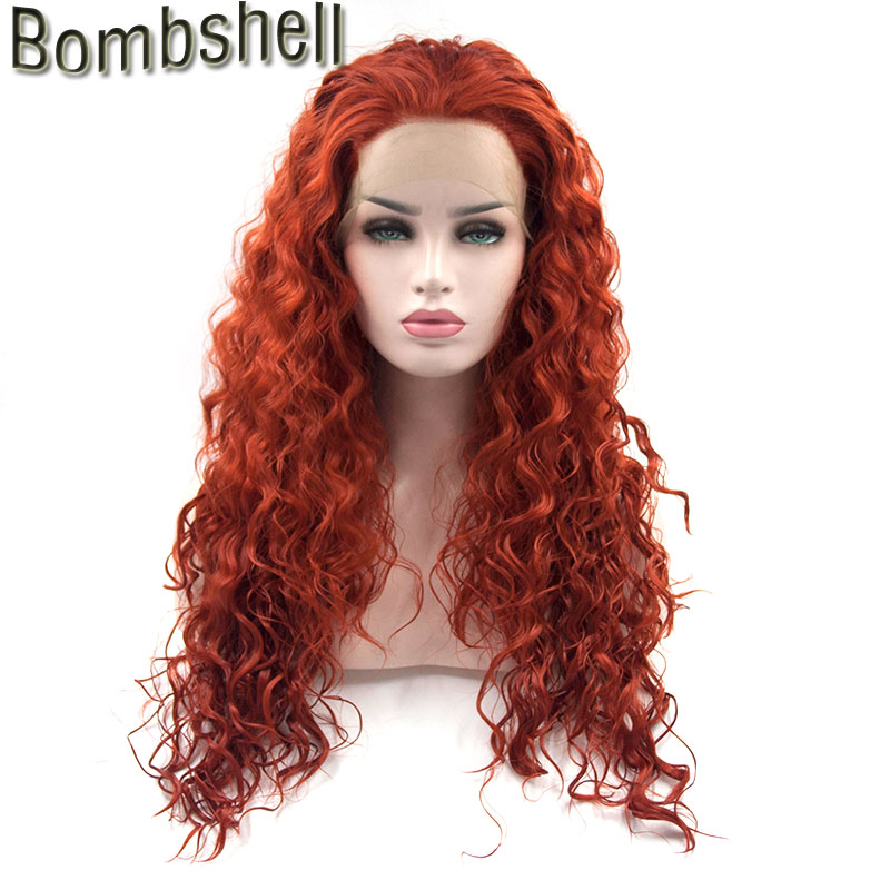 Bombshell Dark Orange Color Water Wave Synthetic Lace Front Wig High Temperature Fiber Natural Hairline For