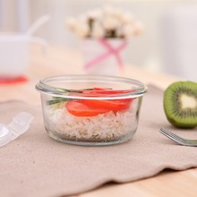 Circular heat-resistant glass sealing preservation box lunch food container 12cm*6.3cm free shipping