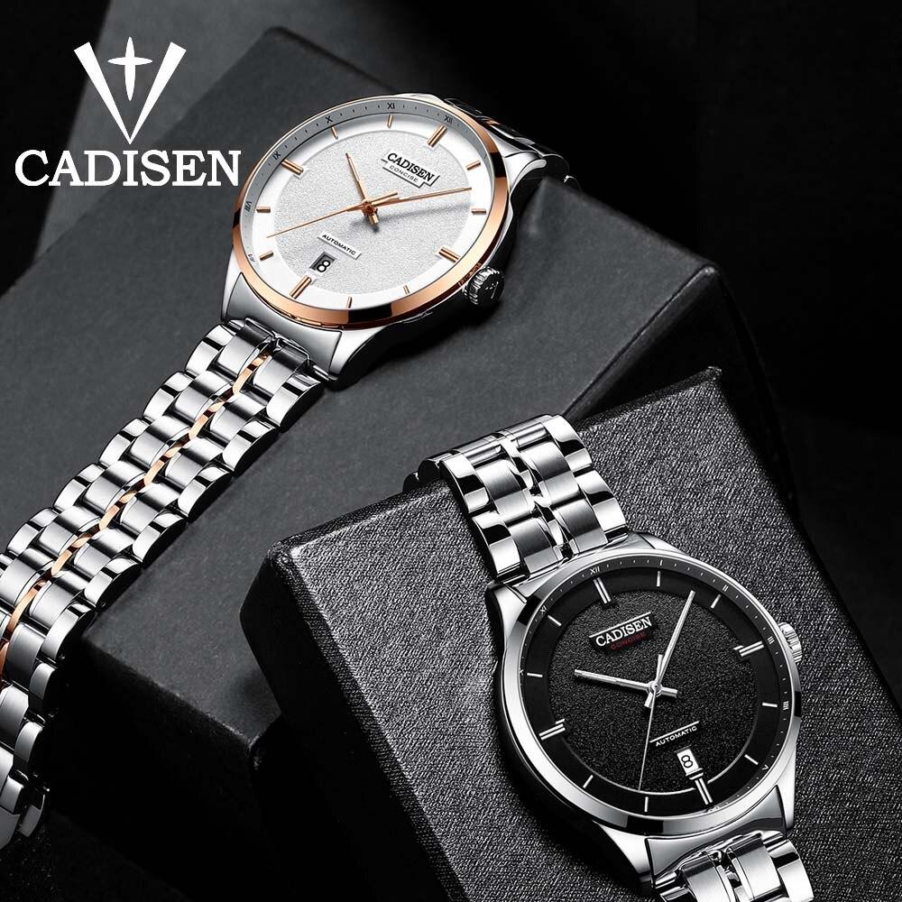 CADISEN mężczyzn zegarek automatyczny mechaniczny rolę data Luminous moda luksusowe marka wodoodporny zegar męski Hombre Relogio Masculino w Zegarki mechaniczne od Zegarki na  Grupa 1