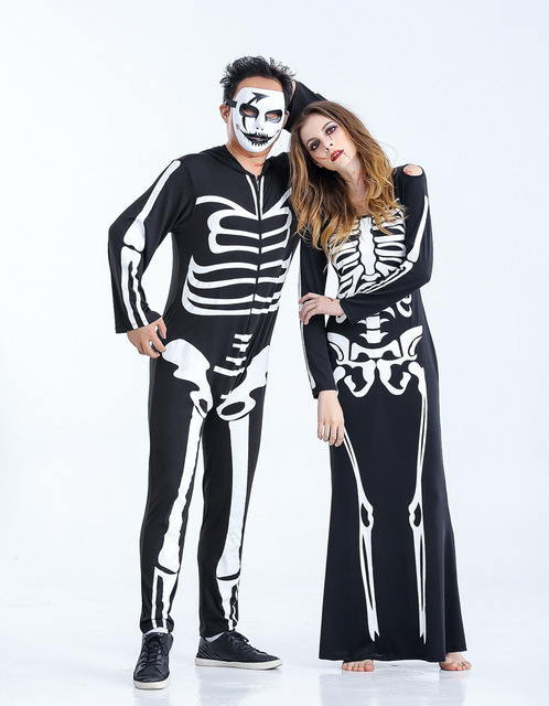 Real shot Devil Costume Couple Halloween Party Demon Skull V&ire Costumes Female Ghost Cosplay Dress  sc 1 st  AliExpress.com & Real shot Devil Costume Couple Halloween Party Demon Skull Vampire ...