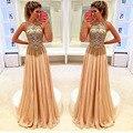 Великолепная золотой вечерние платья с бисером блестками сексуальное отвесное шеи вечерние платья ну вечеринку спинки вечерние платья с кисточкой