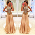 Gorgeous Gold Evening Dresses with Beaded Sequins Sexy Sheer Neck Formal Dresses Party Backless Evening Gowns with Tassel
