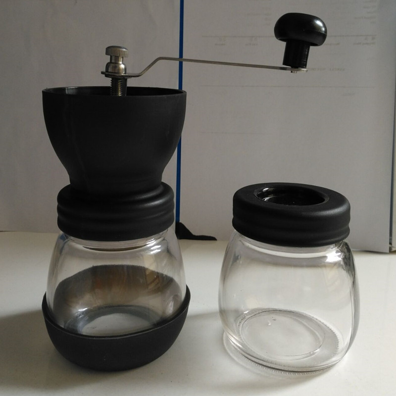 цена на CG01-6,free shipping,Ceramics coffee bean grinder with canister set,coffee grinder,hand Grinding machine,Manual coffee grinder