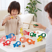Wooden Puzzle Three-in-one Fishing Play House Game Parent-child Desktop Toys Childrens Educational