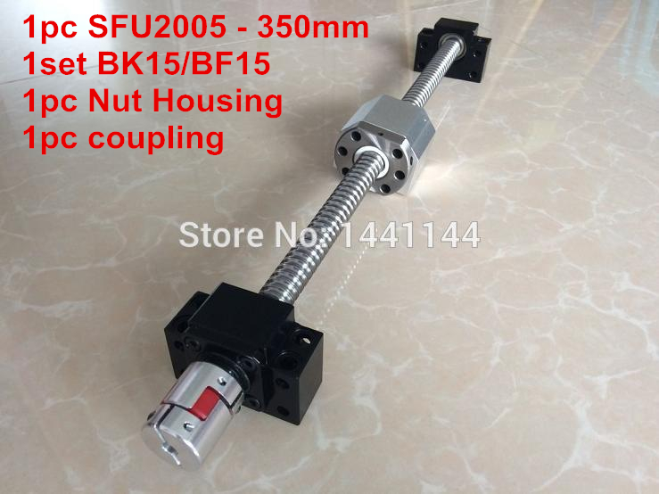 SFU2005- 350mm ball screw  with METAL DEFLECTOR ball  nut + BK15 / BF15 Support + 2005 Nut housing + 12*8mm Coupling 2005 ballscrew 1500 1500 1000 500mm sfu2005 metal deflector ballscrew nut 4set bk15 bf15 support 4pcs coupler 4pcs nut housing