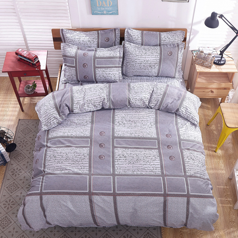 ᐃBed Set Adult 4 Pieces Bedding Set Queen King Twin Size Kids Bed