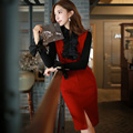 Dabuwawa christmas dress autumn winter dress female long sleeve dress v-neck woolen dresses