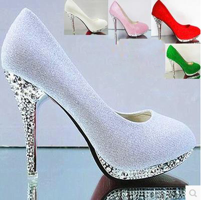 bride wedding shoes thin high heels shallow mouth round head shoes wome Pumps shoes lady party single shoes 9 colors size 34-41 16cm fine with high heels female korean version of the sexy thin bow shoes round head shallow mouth shop shoes