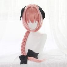 Новое поступление игра Fate Apocryph Astolfo Косплей Парики 75 см розовый термостойкий синтетический волос Perucas Косплей парик