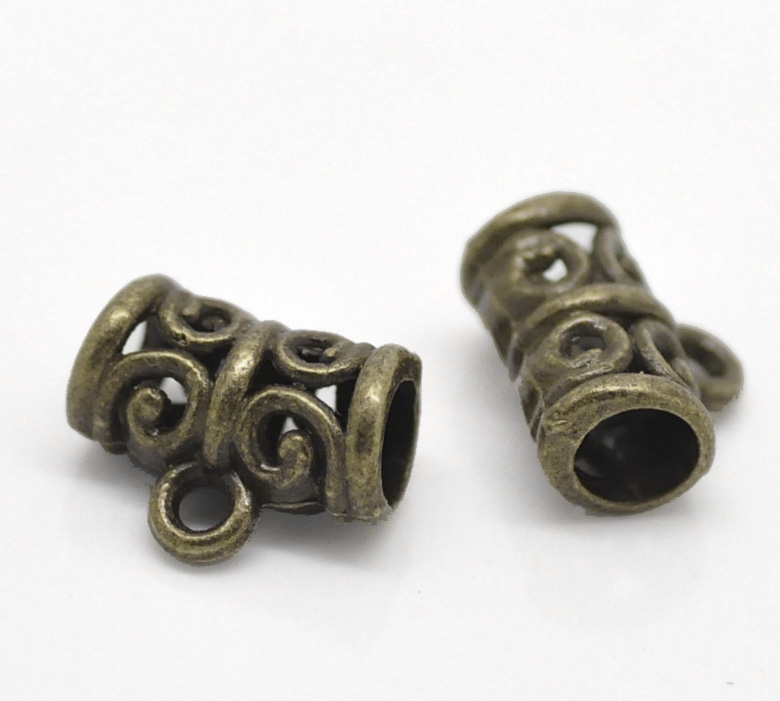 Zinc Metal Alloy Bails Beads Tubes Antique Bronze Flower Hollow Pattern 11mm( 3/8