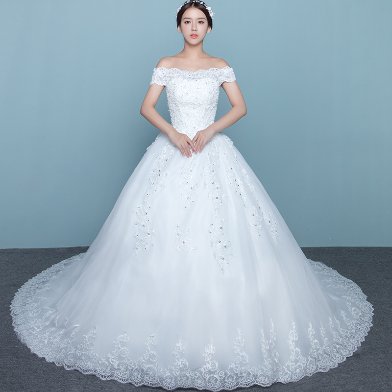 Luxury Lace Wedding Dress 2019 With Bling And Crystals Boat Neck A-Line Wedding Gowns Plus Size Real Photo Vestido De Novias
